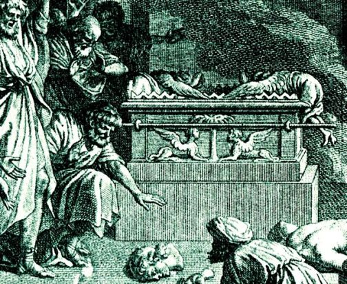 Philistine idol Dagon broken at the foot of the Ark of the Covenant
